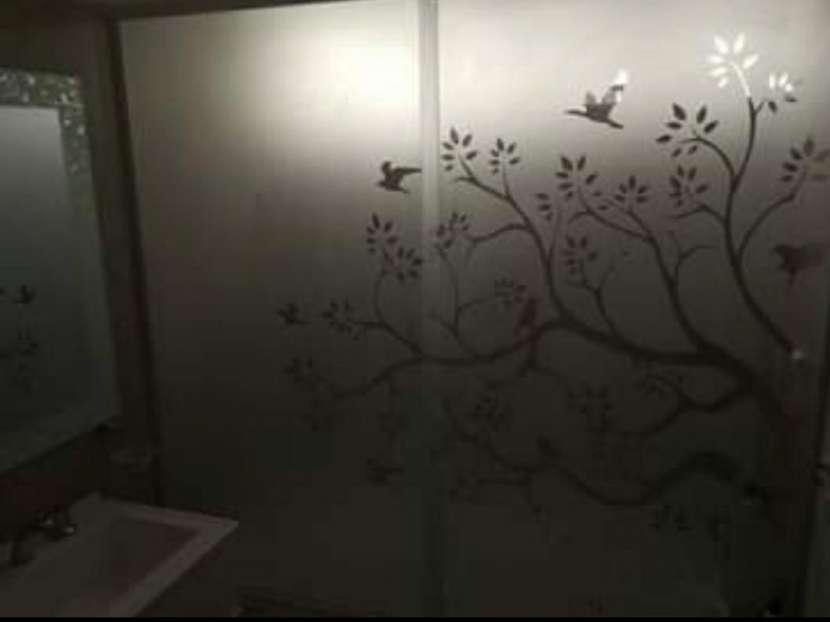Mamparas con diseños en arenados de vidrios templados - 3