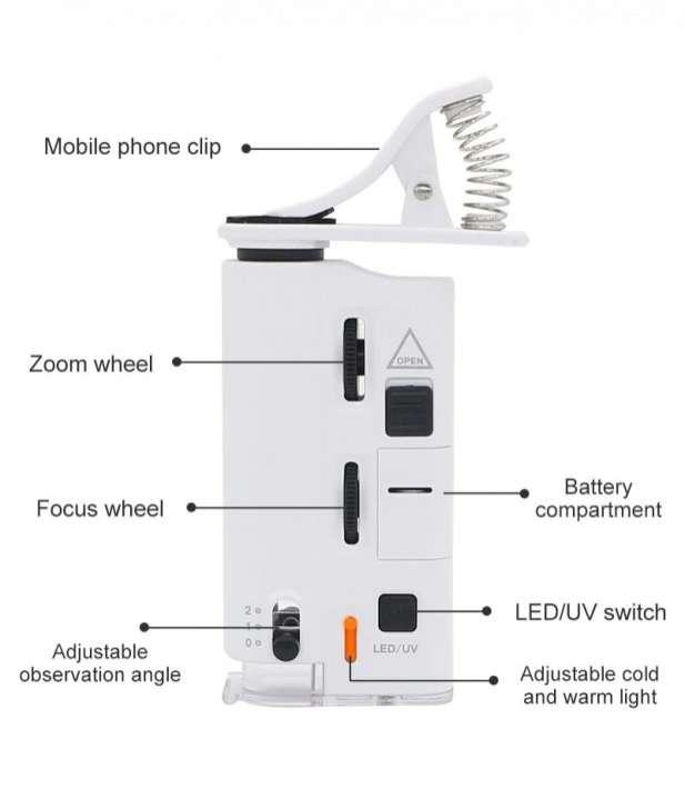 Mini microscopio lupa para teléfonos aumento 60X-100X - 7