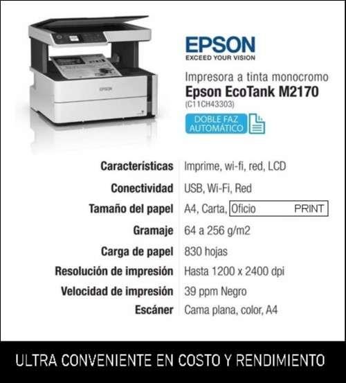 Multifuncional Duplex Blanco y Negro EcoTank M2140 - 0