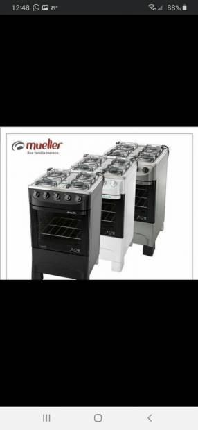 Cocinas Mueller 4 hornallas en 4 colores tapa de vidrio