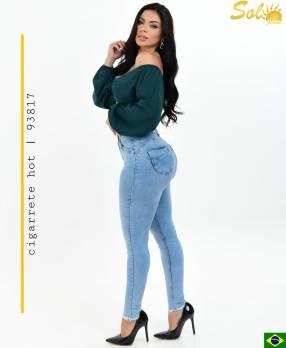 Jeans cintura alta prelavado Sol93817