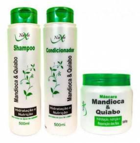 Kit Naxos Mandioca y Quiabo shampoo acondicionador y máscara