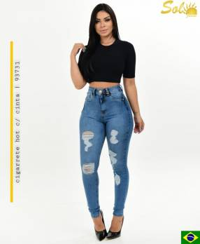 Jeans con roturas chupinado SOL93731