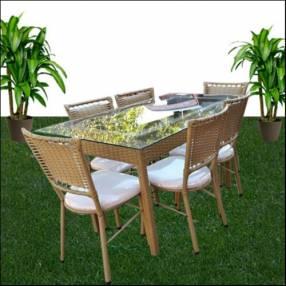 Juego de Comedor Ratam sillas c/ mesa de vidrio