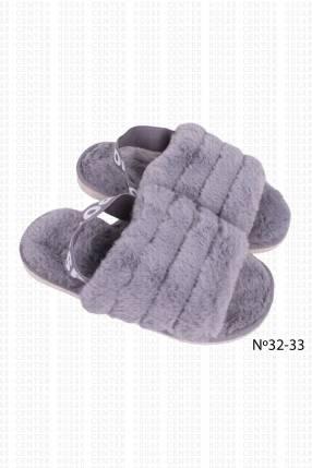 Pantufla peluda gris calce 32 33 horma pequeña