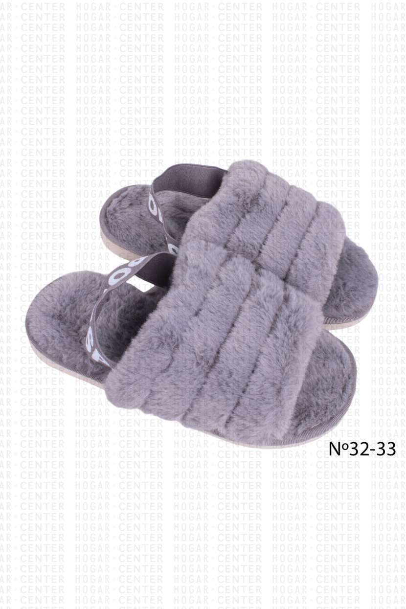 Pantufla peluda gris calce 32 33 horma pequeña - 0