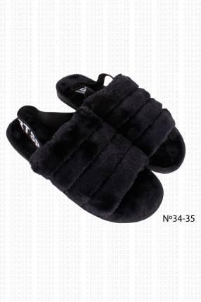 Pantufla peluda negro calce 34 35 horma pequeña