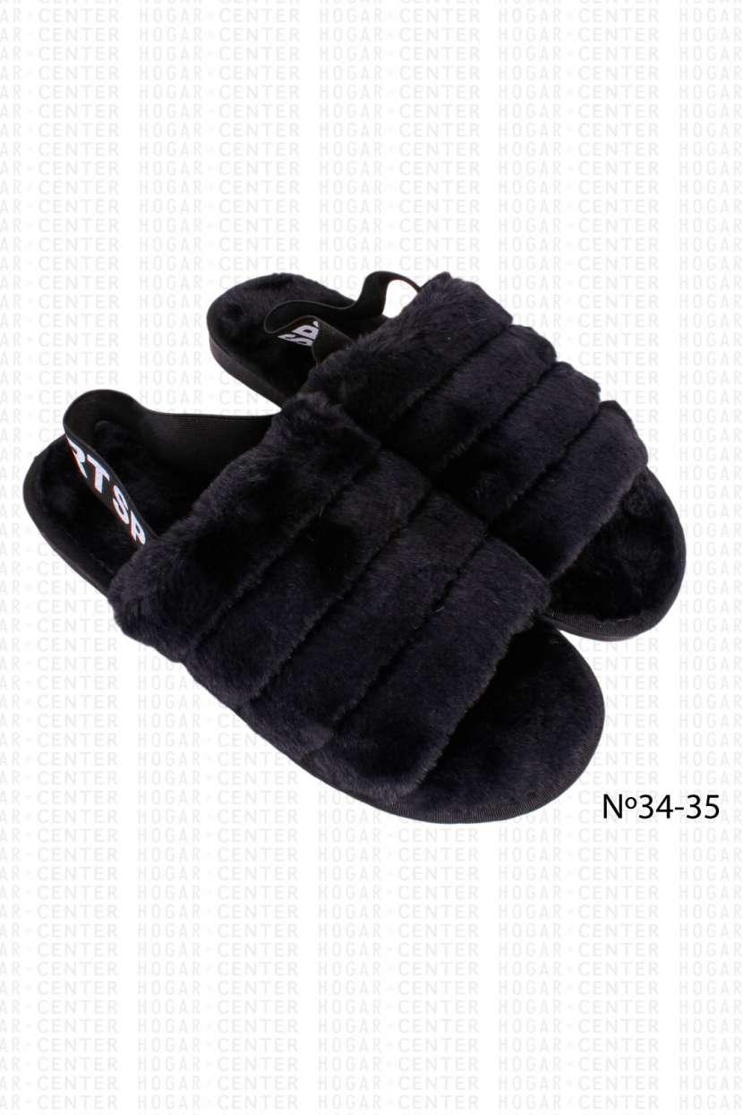 Pantufla peluda negro calce 34 35 horma pequeña - 0