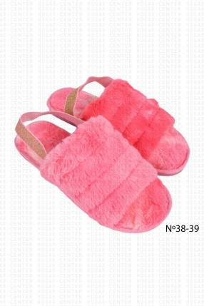 Pantufla peluda rosa 38 39 horma pequeña
