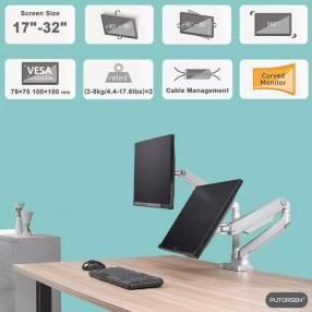 Soporte de mesa articulado para monitores 6.5 Kg x2