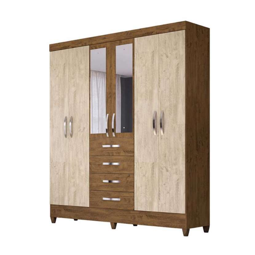 Ropero New Avai 6 puertas con espejo Moval castaño wood avellana 30164 - 1