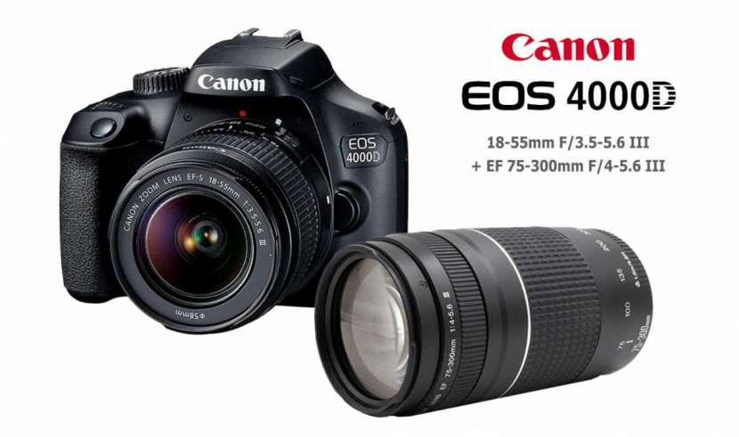 Canon EOS 4000D Kit 18-55mm + 75-300mm combo - 0