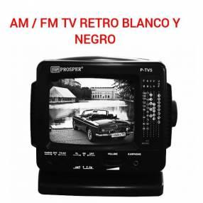 TV retro blanco y negro con AM / FM
