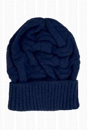 Gorra de lana fina azul marino 19x24cm