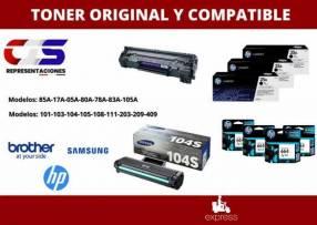 Tóner original y compatible para HP Samsung Brother