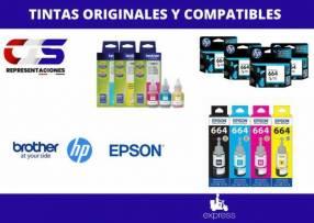 Tintas originales y compatibles para HP Epson Brother