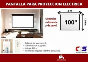 Pantalla eléctrica para proyección 100 pulgadas control remoto