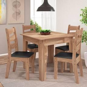 Juego comedor con 4 sillas isis avellana negro claro abba (766))