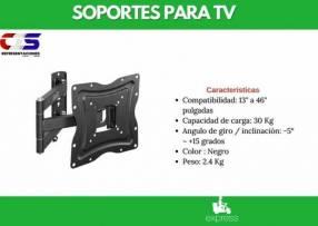 Soporte p/ TV Klip Xtreme 13 a 46 pulgadas inclinable y giratorio