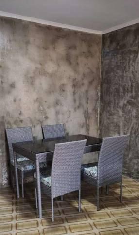 Comedor de rattán color gris 4 sillas