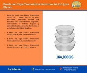 Bowls con tapa Tramontina Freezinox 64220 blanco 3 piezas