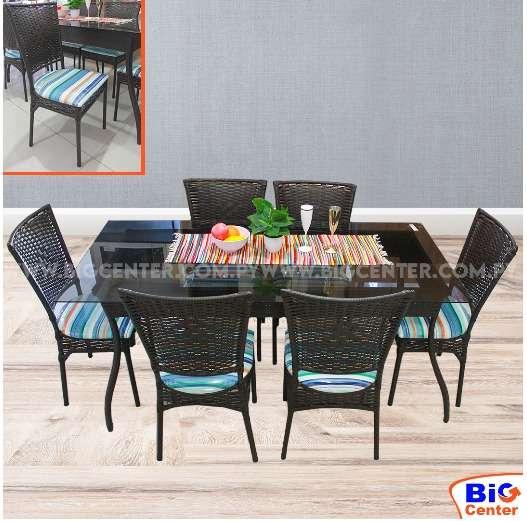 Juego comedor 6 sillas tapizadas simil rattan 3682 - 0