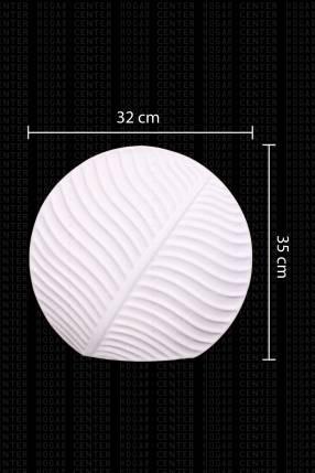 Florero cerámica blanca hojas retro 35x32cm