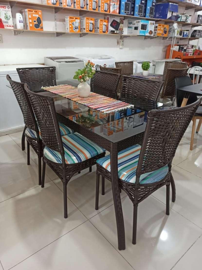 Juego comedor 6 sillas tapizadas simil rattan 3682 - 1