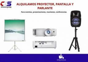 Alquiler de pantalla proyector y parlante para eventos