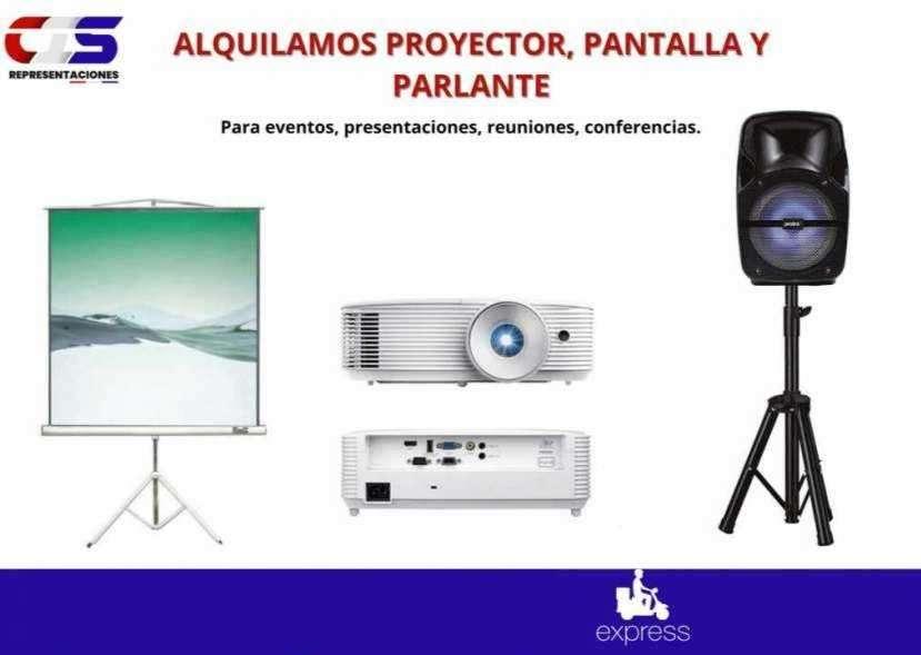 Alquiler de pantalla proyector y parlante para eventos - 0