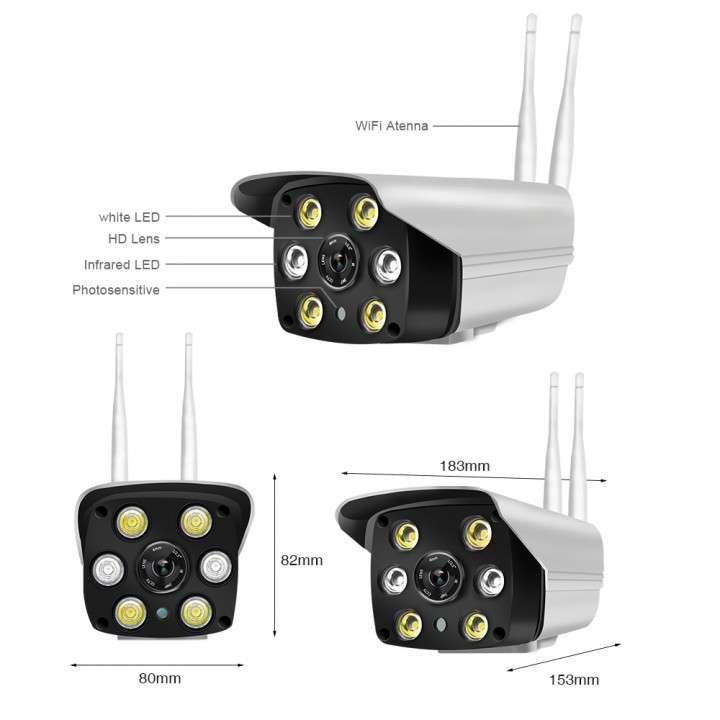 Cámara IP wifi externa 2 antenas hd de acceso remoto - 1