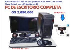 PC de escritorio con cámara web de regalo