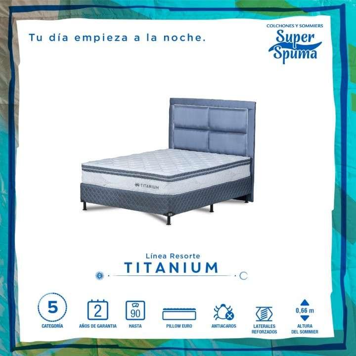 Base y colchón Super Spuma Titanium 160x200cm soporta 90 kilos - 0