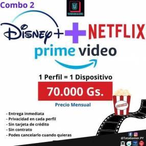 Cuentas Netflix + Disney Plus + Prime Vídeo