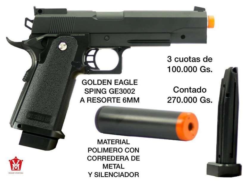 Pistola Airsoft Golden Eagle 6mm corredera de metal con silenciador - 0