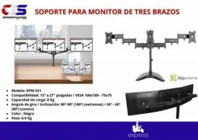 Soporte para monitor de 3 brazos de escritorio Klip Xtreme