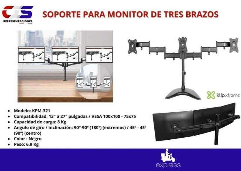 Soporte para monitor de 3 brazos de escritorio Klip Xtreme - 0