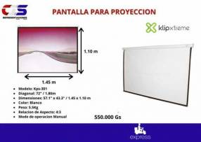 Pantalla para proyector manual Klip Xtreme 72 pulgadas