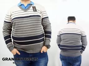 Suéter con cuello V a rayas