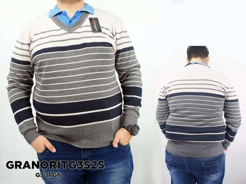 Suéter con cuello V a rayas - 0