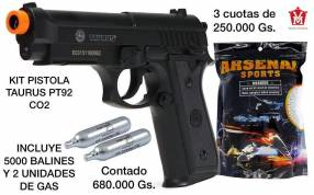 Airsoft aire comprimido kit pistola + gas + balines