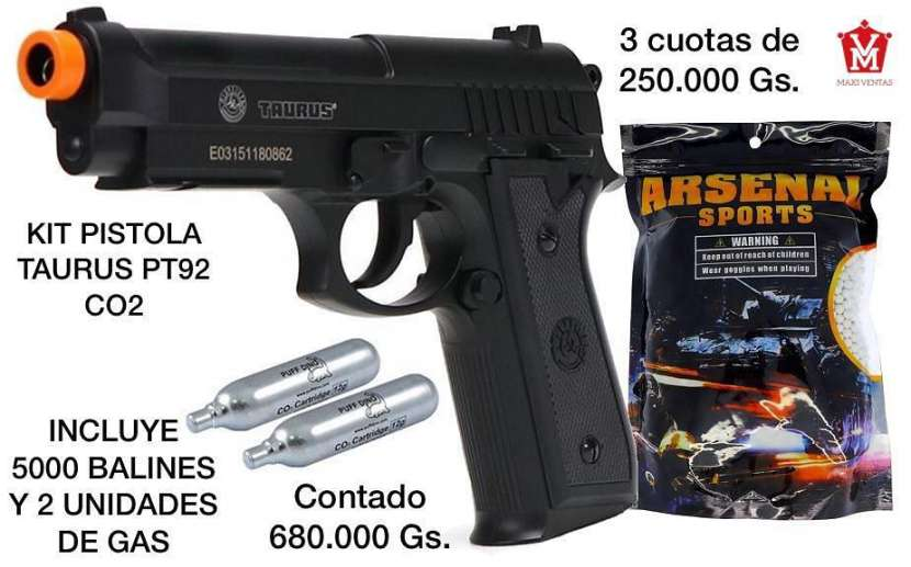 Airsoft aire comprimido kit pistola + gas + balines - 0