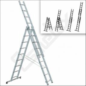 Escalera extensible triple 8 peldaños