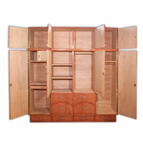 Ropero de madera 4 cuerpos con espejo y valijera