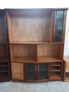 Estante modular de 140 cm para TV con cristalera de madera