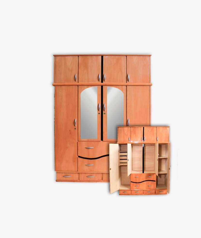 Ropero placar 4 cuerpos de madera con espejo c/ valijera - 0