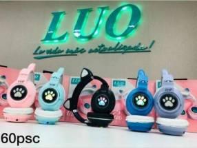 Auricular a bluetooth c/ diseño de orejitas de gato y luces