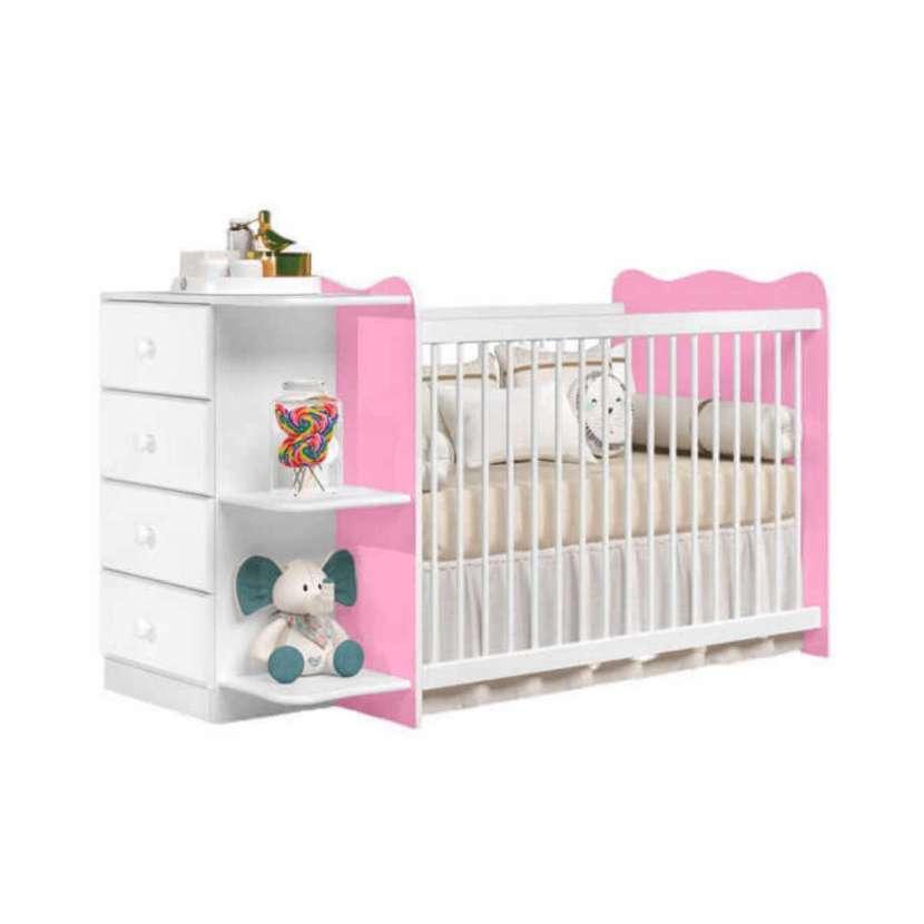 Cuna con cómoda New Happy Ja blanco rosa 30361 - 1