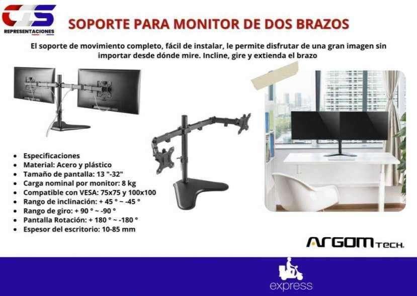 Soporte para 2 monitores Klip Xtreme dos brazos - 0