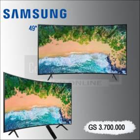 """TV LED 49"""" Samsung UN49NU7300 Curve+Soundbar."""